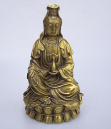 China High: 19CM!!! Art Collection Home Decorated Brass Carved Guanyin Statue Home Feng Shui Sculpture cheap guanyin statue suppliers