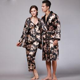 Silk Kimono Set Canada - Fashion Elegant Satin Silk Women's Camisloe and Cardigan and Capri Pants 3 Piece Pajamas Set & Men's Kimono Robes
