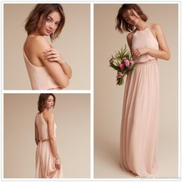 China 2018 Chiffon Mumu Long Bridesmaid Dresses Summer Beach Halter Neck Cheap Wedding Guest Evening Party Wear Custom Made Prom Dresses supplier halter line beach wedding dress suppliers