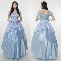 Barato Vestidos Princesa Sissi-Sissi Princess Dress Neve Branca Traje Halloween Party Elegant Noble Blue Gown Medieval Cosplay de fadas adulto