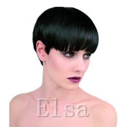 Real Hair Wigs For Indian Women Canada - African American Wigs Real Human Hair Pixie Cut Black Short Wig For Black Women Adjustable Size Hair Human Short Black Wigs