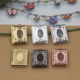$enCountryForm.capitalKeyWord Canada - 26*19*4MM Silver antique bronze rose gold black gun square photo locket charms jewelry, new metal story book picture frame pendants wish box