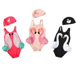 fd71e678574 Wholesale 2pcs set kids swimwear Ins Swan Bikini Girls Flamingos Parrot  Swimsuit Ruffled Bathing Suit Beachwear cap with One-Piece Bikini