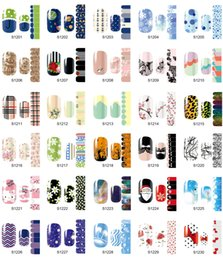 Barato Projeto Diy Da Flor Do Prego-56 Styles Nail Sticker, 14sheets / lot Montagem completa Mix Flowers Designs Nail Art Tips Wraps, DIY Nail Sticker Decoration Accessory