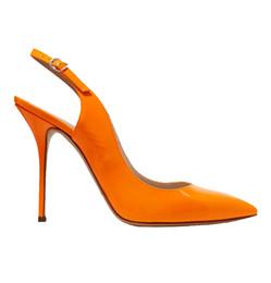 orange slingback shoes 2019 - Zandina New Arrival Womens Handmade Patent Leather Shoes Slingback Pointy High Heel Fashion Party Prom Pumps Orange chea