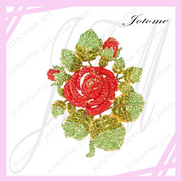 $enCountryForm.capitalKeyWord Canada - 100PCS Lot Gold-Tone Valentines' Gifts Austrian Crystal Romantic Rose Flower Leaf Brooch for lover, girlfriend, mother