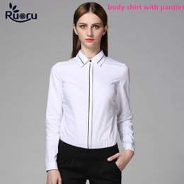$enCountryForm.capitalKeyWord Canada - Ruoru White OL Slim Body Shirt Blouse Long Sleeve Bodysuit Formal Women Tops Clothes Office Blouse Chemise Femme Lingerie Tops