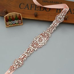 Wholesale Handmade Rose Gold Rhinestones Appliques Wedding Belt Clear Crystal Sewing on Bridal Sashes Wedding Dresses Sashes Bridal Accessories T17