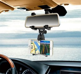 Tablet Cradle Holder Car NZ - Universal Car Rearview Mirror Mount holder Stand Cradle for IOS Android Mobile phone MP3 MP4 Tablet GPS holder