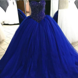 Robe Sexy Douce Et Sexy Pas Cher-Nouveau 2017 Hot Quinceanera Robes Plue Size Ball Gown Sweetheart Royal Blue Tulle Crystal perlé Long Sweet 16 Party Prom Evening Robes