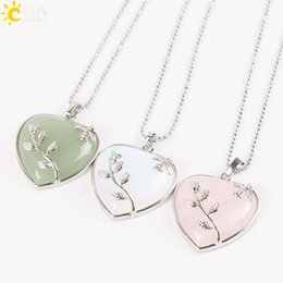 $enCountryForm.capitalKeyWord NZ - CSJA Bohemian Style Women Jewellery Love Heart Gem Stone Necklaces 5 Colors Natural Stone Charms Pendant Fashion Collection Jewelry E073 B