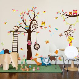 Wholesale Fundecor Diy Cartoon Happy Monkey Owl Tree Wall Decals Vinyl Wall Stickers For Kids Rooms Baby Bedroom Home Decor