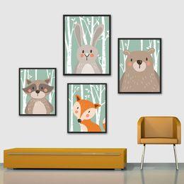 $enCountryForm.capitalKeyWord NZ - Cartoon Animal Rabbit Bear Fox Minimalist Art Canvas Poster Painting Nursery Picture Print Modern Home Children Room Decor