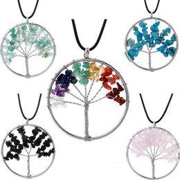 tree life chain 2019 - Women Rainbow 7 Chakra Amethyst Tree Of Life Quartz Chips Pendant Necklace Multicolor Wisdom Tree Natural Stone Necklace