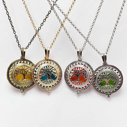 "stainless steel 316l dog tags Canada - Tree of life Aromatherapy Essential Oil Diffuser Necklace Locket Pendant 316L Stainless Steel Jewelry with 24"" Chain NE703"