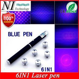 Lazer Pens Canada - 5mw 6in1 Blue Violet Laser Pointer Beam Light Puntero Laser 532nm Apresentador PPT Lazer Pen Jogo De Luz + Free 5 Star Cap