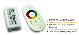 12 touch screen UK - Free Shipping 10sets lot DC12-24A 18A RGB led controller 2.4G touch screen RF remote control for led strip bulb downlight