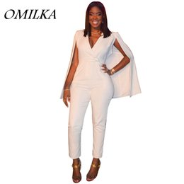 b57a61d0310e OMILKA 2017 Summer Women Cloak Cape Bodycon Rompers and Jumpsuits Sexy  White Long Sleeve High Waist V Neck Club Party Overalls