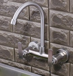 Nickel Kitchen NZ - Stainless Steel 304 Bathroom Kitchen Sink Faucet Hot Cold Water Wash Swivel Spout Nozzle Mixer Brushed Nickel Dual Handles Wall Mounted Tap