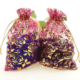 Organza vOile gift packaging bags online shopping - pc X30cm Dark Red Gold Rose Color Christmas Wedding Drawable Organza Voile Gift Packaging Bags