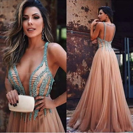 Barato Vestido, Forro, Champanhe-Champagne Tulle Africa Prom Vestidos V Neck Beaded Sexy Back A Line Meninas Arab Party Evening Dress Vestidos de cocktail formal Wear Plus Size