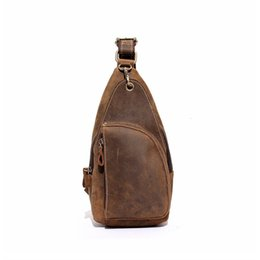 Leather piLLow factory online shopping - Men s Chest Bags Crazy Horse Cow Leather Small Out door Bags Factory Price Cowhide Shoulder Bag