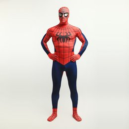 Homme Spandex Rouge Hommes Pas Cher-Brand New 2017 Rouge et Bleu Foncé Super-Héros Spider-man Cosplay Body Sexy Costume Lycra Spandex Complet Corps Zentai Costume