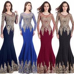 Barato Sereia Designer Vestidos-Designer Barato 2017 Mermaid Sheer Manga comprida Prom Dresses Jewel Lace Appliqued Sequined Illusion Sweep Train Evening Party Vestidos CPS404