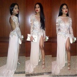 Sheer Front Prom Dress Canada - Sexy Backless Front Split Prom Party Dresses 2016 Sheer Neck Long Sleeves Lace Applique Plus Size Evening Event Wear Vestidos De Novia Cheap