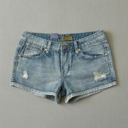 Denim Pantalons Pantalons Chauds En Gros Pas Cher-Vente en gros - 2016 Summer New Arrival Women's Casual Casual Shorts Denim, Femelle Vintage Brand Short Ripped Jeans, Sexy Slim Hole Hot Pants
