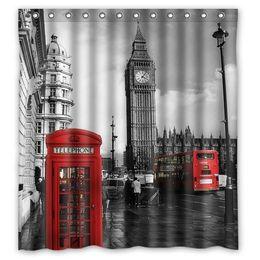 $enCountryForm.capitalKeyWord Canada - Customs 36 48 60 66 72 80 (W) x 72 (H) Inch Shower Curtain Vintage London Big Ben Red Telephon Polyester Fabric Bath Curtain