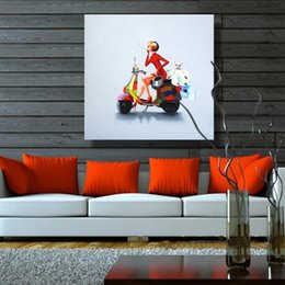 $enCountryForm.capitalKeyWord Canada - Smoking Lady Sit on Motorcycle,Pure Hand-painted Modern Abstract Art Oil Painting,Home Decor On High Quality Canvas size can be customized