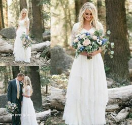 Robe De Mariée Sexy En Dentelle Pas Cher-2017 Cheap Western Country Bohemian Forest Robe de mariée Lace Chiffon V Neck Boho Garden Country Robe de mariée Custom Made Plus Size