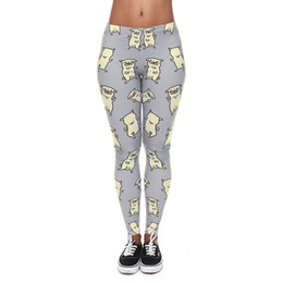 Leggings Aux Imprimés Gris Pas Cher-Leggings Femmes Pug Dance Light Grey 3D Graphic Print Fille Skinny Stretchy Yoga Wear Pantalons Lady Sportwear Capris Workout Trousers (J40576)