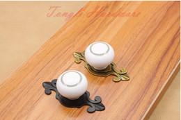 $enCountryForm.capitalKeyWord Canada - Vintage elegant Silver circle white ceramic round door knob with bronze and Black base cabinet pulls kitchen drawer furniture handle #65