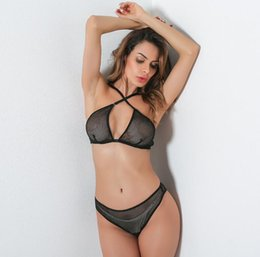 Latex Free Bras NZ - 2019 New Women Underwear Hollow Out Fishnet Halter Bra Sexy Fishing Net Thong With Garters Latex Sexy Lingerie Set
