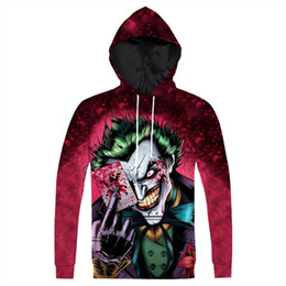Chinese  New Hoodie Printed The Joker Hoodie Fashion 3D Anime Character Joker Printed Hoody Sweatshirt Pullovers Tops Plus Size 3XL Dropship manufacturers
