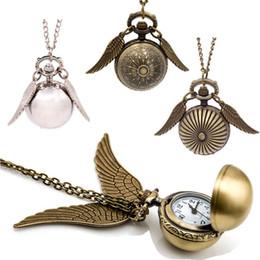 Discount ball watches quartz - 5 models Golden Snitch Pocket Watch ball pendants necklace Bronze Quidditch Wings quartz Watch Fob Watches men women 230