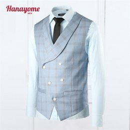 Costume Masculin Bleu Pas Cher-Wholesale- Blue Vest Famous Brand Plaid Double Breasted Wedding Suit 1pc Gilets Blue Blue smoking smoking pour Homme 2016 NEW Arrival SI018