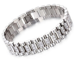 China Watch Band Style 15mm Width 316L Stainless Steel Luxury Mens Wristband Link Bracelet with Prong Setting CZ Stones suppliers