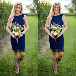 Discount knee length wedding dress scoop back - Royal Blue Sheath Lace Country Style Bridesmaid Dresses 2017 Cheap Jewel Zipper Back Knee Length for Western Wedding Cus
