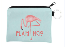 zipper wallet case Australia - 10pcs New arrival 3D printing flamingo Children cute small Wallet Zipper Case Coin change Purse key pouch mini bag card holder