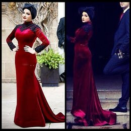 $enCountryForm.capitalKeyWord Canada - Muslim Evening Dresses Mermaid Burgundy Velvet Modest Long Sleeve High Neck Hijab Evening Formal Prom Gowns vestido branco Customized