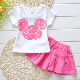 Candy Girl Niños Ropa Baratos-Summer Girls Outfits Candy Colors Niños Top + Skirts 2 piezas Kids Cotton Clothing Sets 3 colores