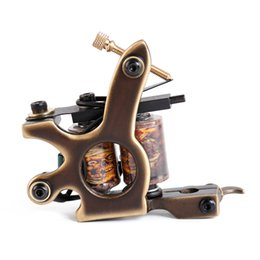 Machines À Tatouer Sur Mesure Pas Cher-Le plus récent Solong Handmade Tattoo Machine 12Wraps Coil Gun Shading True Brass Custom M204-2 Tattoo Supply Set
