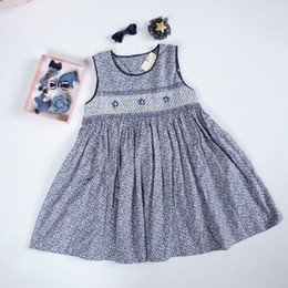 High Quality Boutique Clothing Canada - Free Gift Vintage Handmade Girl's Dress 100% Cotton Boutique Children Clothing Floral Print with Handmade Decoration High Quality Dresses
