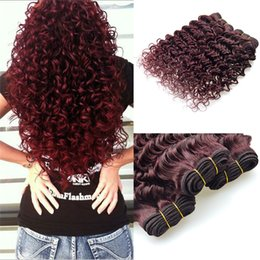cheap 24 inch red hair Canada - Deep Wave 9A Malaysian 99J Virgin 9A Human Hair Extensions Deep Curly Red Hair Bundles 9A Cheap Burgundy Hair bundles 3Pcs lot