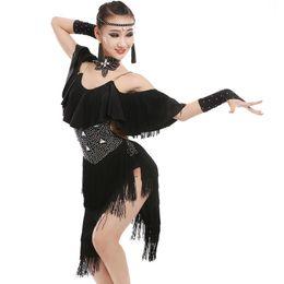 633002e94a New children Kids Girls Latin dance dress Sexy Rhinestone Tassel chacha  tango ballroom costumes Practice Dance Dress Red Black White Green