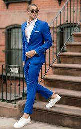 Beige Slim Suits For Men Australia - Handsome Blue Wedding Tuxedos Slim Fit Suits For Men Cheap One Button Groom Suit Two Pieces Prom Suits