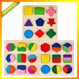 Wholesale Montessori Wooden Toy Geometry Shape Recognition Division Plate Multicolour Graphic Board Three Different Board